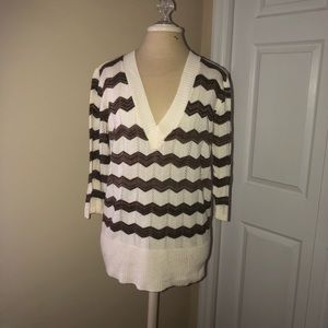 Maurice's sweater brown and cream stripe XL